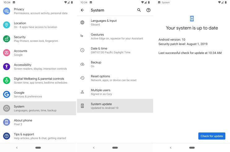 установить Android 10